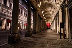 Chasing Botticelli (Jim Nix / Nomadic Pursuits) Tags: jimnix nomadicpursuits travel europe italy florence firenze museum uffizi architecture hallway columns night evening landmark renaissance art macphun aurorahdr2017 hdr