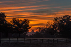 Dawn Is Breaking - 091416-064258 (Glenn Anderson.) Tags: morning sunrise dawn tree ripples nature color sun park nikon outdoor sky cloud serene field landscape solar splitrailfence morningdew lightfog
