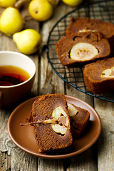 The pear  cake with  chocolate (Zoryanchik) Tags: pear cake food sweet fruit dessert snack homemade delicious fresh pastry sliced tasty baked breakfast slice sugar healthy yellow brown gourmet treat piece chocolate