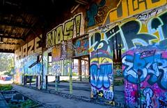 abandoned, bayshore roundhouse, burned out, graffiti, railroad, Southern Pacific (David McSpadden) Tags: bayshoreroundhouse railroad southernpacific bayshore graffiti burned abandoned