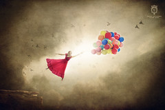 Carried Away (Greg Collins Fine Art) Tags: girl woman female person people child dress balloon balloons fly flying float floating carried cliff cloud clouds sun rays light shadow dark drama glow flare bird birds surreal outdoors dream dreaming danger hope wish wishing red orange yellow green blue pink beige tan brown blonde storm stormy sky