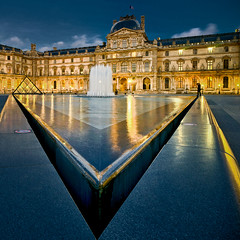 Le Louvre, un soir. (Zed The Dragon) Tags: city morning bridge light sunset sky paris france building skyline architecture skyscraper photoshop reflections french landscape effects europe flickr cityscape pyramid minolta louvre sony capital musee full un frame fullframe alpha soir pyramide reflets postproduction hdr highdynamicrange sal lelouvre zed lumières 2012 francais cour lightroom historique effets storia parisien carrée 24x36 poselongue a850 eclairages sonyalpha dslra850 alpha850 zedthedragon