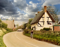 Longparish (Beardy Vulcan) Tags: road boy england car bike bicycle spring village child cottage may hampshire andover 1981 thatch 20thcentury thatchedcottage longparish testvalley b3048
