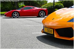 LP560-4 BIcolor & F458 Italia in Nancy (G-E Supercars) Tags: france cars race fire spider italia martin lotus elise ferrari voiture route nancy audi lorraine lamborghini v8 aston gallardo f430 supercars dbs r8 560 db7 n420 dreamcar 458 amv8 bicolore f458 worldcars