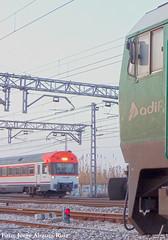Renfe sobre adif. (Tomeso) Tags: spain ut media gm diesel zaragoza aragon locomotora distancia renfe 448 electrica unidad 319 macosa adif