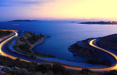 Limanakia,Vouliagmeni (MRPittsP) Tags: road sea sun cars beach water canon lights cool sunsets athens greece t3i vouliagmeni limanakia 600d mrpittsp
