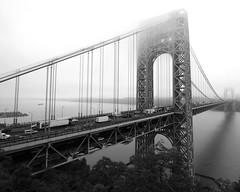 George Washington Bridge over the Hudson River, New York-New Jersey (jag9889) Tags: bridge mist ny newyork fog puente newjersey crossing suspension nj bridges ponte pont hudsonriver brcke gw gwb waterway georgewashingtonbridge 2012 bergencounty othmarammann panynj portauthorityofnewyorkandnewjersey k007 jag9889 y2012
