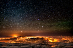 Night Sky at Haleakala (mojo2u) Tags: clouds stars volcano hawaii maui haleakala nightsky nikon2470mm nikond700 stunningskies wailealights