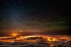Night Sky at Haleakala (mojo2u) Tags: clouds stars volcano hawaii maui haleakala nightsky nikon2470mm nikond700 stunningskies wailealights