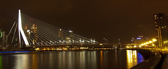 Looking towards the Erasmusbrug from the Maasboulevard, Rotterdam. (George Ino) Tags: skyline river rotterdam nightscape nightshot maas kopvanzuid feyenoord charlois willemskade wereldmuseum katendrecht koningshaven maasstad mygearandme