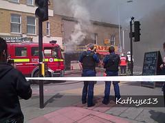 Fire in Lewisham 2 (Kathyse13) Tags: london shop fire cafe arm smoke side engine lewisham police tags pistol fireman guns firemen met kebab metropolitan officer holster policeman armed pl cordon strobes se13 lfb co19 papalima belmonthill dpl1219