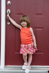 June 22, 2012_12 (Kim_Reimer) Tags: door pink red baby canada silly color cute girl childhood handle kid toddler child bc outdoor britishcolumbia daughter adorable posing skirt innocence tanktop northamerica carefree 2yearsold sleeveless gettyimagescanada