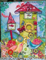 purnimaCanvasBoardBirdGarden (entwoman) Tags: collage stencil mixedmedia stamp canvas doodle rubons