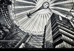 Sony Center (bgspix) Tags: blackandwhite bw building berlin glass architecture modern canon germany steel sony potsdamerplatz sonycenter canonefs1022f3545usm canoneos60d