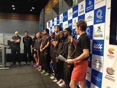 "The team up on stage at the Asics Sport and Leisure Expo • <a style=""font-size:0.8em;"" href=""https://www.flickr.com/photos/64883702@N04/7499533148/"" target=""_blank"">View on Flickr</a>"