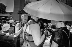 (AlanDejecacion) Tags: sanfrancisco california film umbrella balloons parade prideparade bealestreet yashicat4 aristapremium400 aristapremiium400 ontheroad2012