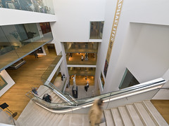 Ashmolean Museum, Oxford (Bruce Clarke) Tags: museum architecture stairs artgallery wideangle olympus staircase e3 atrium oxforduniversity modernarchitecture universityofoxford ashmolean ashmoleanmuseum 714mm museumstairs oxfordrickmather