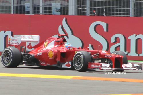 Fernando Alonso in his Ferrari F1 car at the 2012 European Grand Prix in Valencia