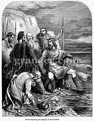 0058944 (Granger Historical Picture Archive) Tags: ocean england men english norway denmark king tide royal wave medieval engraving danish viking spear courtier 11thcentury canutei