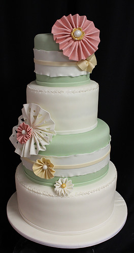 Green Ruffle and Paper Flowers Wedding Cake