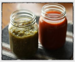 Red & Green Chile Sauce (rabbitbrushstudio) Tags: redchile greenchile newmexicanfood