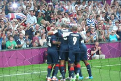 Great Britain 1 Senegal 1 - Goal for Craig Bellamy (zawtowers) Tags: old london happy football goal hugging 26 britain great joy july games celebration craig senegal olympic players olympics swamped trafford score footy 2012 footie bellamy london2012 gbr teamgb