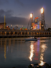 McCovey Cove Blue Hour (P1330978_79_80_81_tonemapped) (Michael.Lee.Pics.NYC) Tags: sanfrancisco china park bridge blue newyork reflection bay baseball cove basin hour giants mets hdr att scoreboard mccovey mlb photomatix