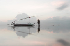 Long Exposure Photograph of a Photographer shooting a Boat (gazrad) Tags: beach boat copyspace highkey longexposure pastel photographer pink reflection sea sketch water watercolour