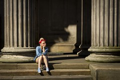 Daydream Believer (Leanne Boulton) Tags: colonnade architecture column people urban street candid portrait portraiture streetphotography candidstreetphotography candidportrait streetlife young woman female pretty face facial expression beauty beautiful girl blonde bandanna red steps daydream feeling emotion mood tone texture detail depth natural outdoor sunlight light shade shadow city scene human life living humanity society culture canon 7d 50mm color colour glasgow scotland uk