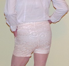 Tight shorts 1 (donnacd) Tags: sissy tgirl clit clitty tgurl jewels dressing crossdress crossdresser cd travesti transgenre xdresser crossdressing feminization tranny tv ts feminized domina donna red dress scarf heels gold crossed legs pumps shoes panties thong polka dots white blouse earrings hair black stockings tights bra fishnet corset necklace collar