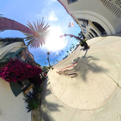 Santa Barbara California (Serendigity) Tags: santabarbara california unitedstates us polar palms usa panorama coast distorted street