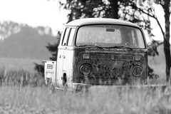 Awaiting pickup (jarnasen) Tags: d810 nikon tamron tamronsp150600mm 600mm perspective mono monochrome blackandwhite bw svartvit vw bus pickup truck scrap vintage oldtimer car field farm farmland morning conversion contrast dof short moist copyright jrnsen jarnasen sverige sweden stergtland nature outdoor derelict bnw