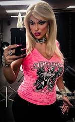 Blonde moments, pink top; selfie in the mirror (Juliapanther Over 27 million views, thanks!!!) Tags: mirror reflection portrait julia panther juliapanther posing model pinup tgirl makeup pink top rhinestones lips lipstick fuscia bracelet necklace choker nails