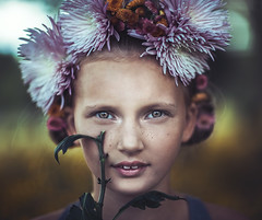 mia lr (ericksonl24) Tags: girl flowers sunlight 85mm portrait freckles beauty