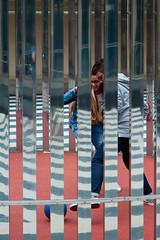 A guy, a girl and a ball @ Rotterdam (PaulHoo) Tags: nikon rotterdam holland netherlands 2016 summer city urban art reflection fun joy couple girl guy ball play pattern
