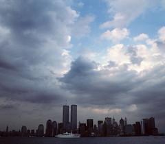 WTC 214 (stevensiegel260) Tags: worldtradecenter twintowers 1990s newyorkskyline manhattanskyline clouds cruiseship
