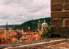 Prague - 2. Terracotta empire (Benji :D) Tags: 2016 prague canon 7d terracotta oldtown castle view church steeple brick vivid colours color wall trees czech republic chechia
