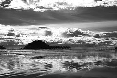 Air Manis Beach. (iecharleton) Tags: airmanis beach indonesia padang blackandwhite landscape tropical sky shoreline seascape clouds