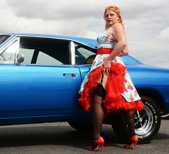 Ange L'Que_8782 (Fast an' Bulbous) Tags: high heels stilettos stockings dress girl woman car vehicle muscle automobile oldtimer classic american santa pod chick babe mature milf nikon d7100 gimp