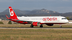 Air Berlin Departing Palma. (spencer.wilmot) Tags: pmi lepa palma palmademallorca aeropuertodepalmademallorca mallorca majorca ab ber airberlin a321 sharklets takeoff runway departure evening eveninglight spain balearicislands mountains rolling plane jet jetliner aviation airplane aircraft airliner airport airside airbus