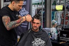 Jack Rabbits (Silver Machine) Tags: southampton hampshire yellowvintagefair vintage vintagehair hair haircut barbers jackrabbitsbarbers men tattoo beard clippers portrait candid fujifilm fujifilmxt10 fujinonxf35mmf2rwr