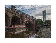 Castlefield Viaducts and the Beetham Tower (andyrousephotography) Tags: castlefield manchester viaducts bridges canals bridgewater rochdale beethamtower skyscraper tallbuildings morning clouds barge emmelinepankhurst suffragettes women vote history