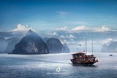 Ha Long Bay (fesign) Tags: asia bayofwater beautyinnature cloudsky colour dusk halongbay horizontal image indochina nature nauticalvessel northvietnam onthemove outdoors pacificocean photography rock rockformation scenics sky transportation traveldestinations vietnam