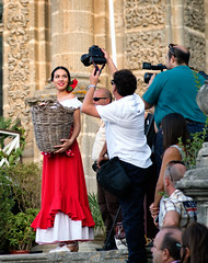 Photo Op (B. Gohacki) Tags: pentax ricoh k1 dslr jerez spain espana vendimia wine sherry vino grapes uvas blessing flamenco beautiful pretty girl spanish photographers pose paparazzi basket red colorful dress cathedral dark haired uvtopcor 100mm f4