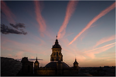 Sunset Church (JayTeaUK) Tags: andalucia spain sevilla sunset contrails sky church iglesiadelaanunciacin parasol explore