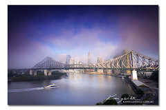 Smoke on the Water ([ Kane ]) Tags: city bridge water fog sunrise canon landscape dawn town glow purple lee kane brisbanecity cokin gledhill kanegledhill