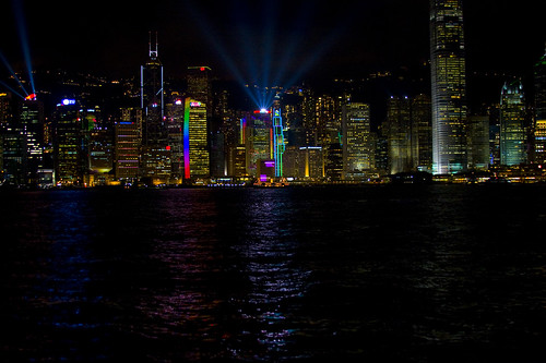 Hong Kong light show at night