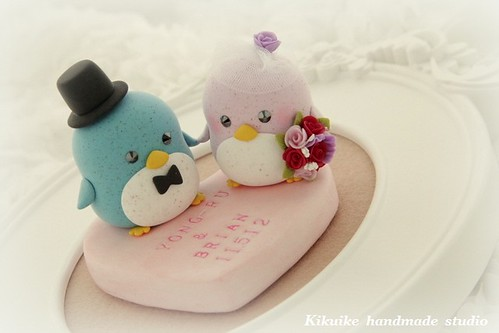 Special Edition----LOVE ANGELS Wedding Cake Topper-love penguin with ...