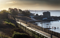 Seapoint, Co Dublin, Ireland. (2c..) Tags: city railroad ireland sunset shadow summer sky people sun building tree castle water skyscape evening railway dailycommute best railways dart irishrail 2c irishrailways irishtrains 5dmk2 72dpipreview lowresolutionpreview 2c