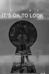 It's OK To Look (pennuja) Tags: street bw window girl its look museum dc washington candid stranger scouts spy to 100 keyhole ok
